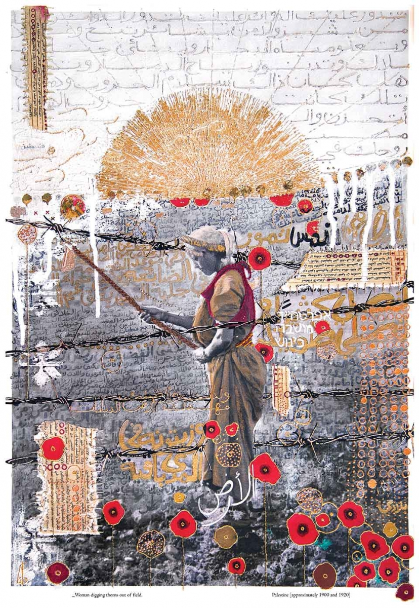 A mixed media illustration of a woman pulling down barbed wire with a rope