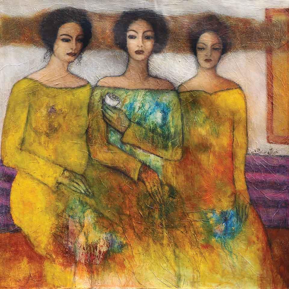 A gauzy illustration of three women in long dresses