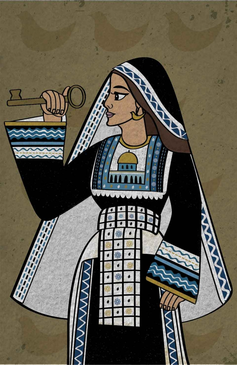 An illustration of a woman, standing in profile, holding a oversized key in her right hand