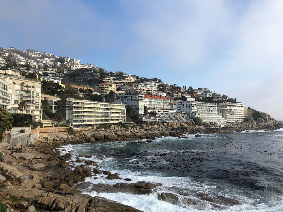 A photograph of Cape Town facing the sea