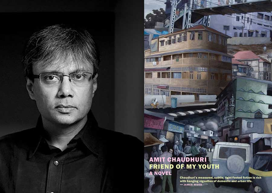 A photo of Amit Chaudhuri juxtaposed with the cover to his book Friend of My Youth