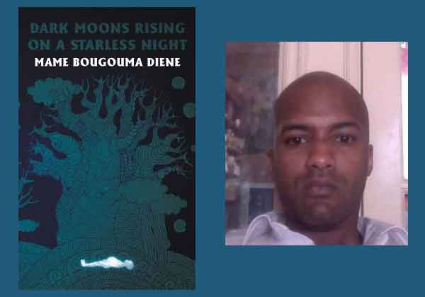 The cover to Dark Moons Rising on a Starless Night juxtaposed with a photo of its author