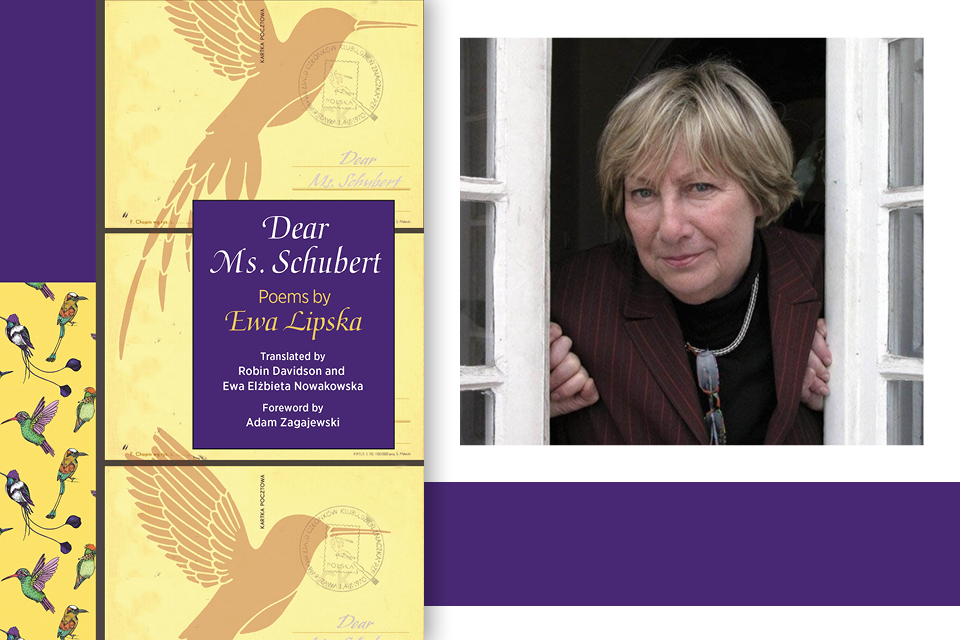 A photograph of Ewa Lipska juxtaposed with the cover to her book Dear Ms. Schubert