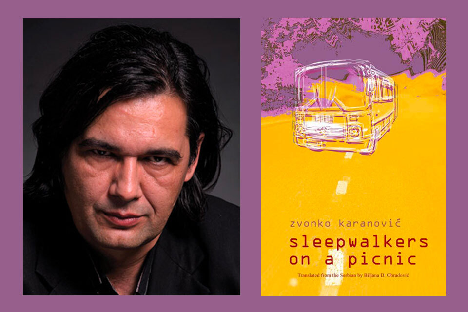 A photograph of Zvonko Karanović juxtaposed with to the cover of his book Sleepwalkers on a Picnic