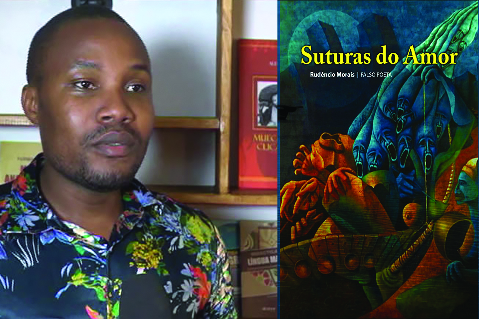 A photo of Rudêncio Morais juxtaposed with the cover to his book Suturas do Amor