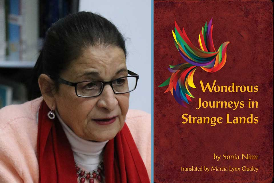A photograph of writer Sonia Nimr juxtaposed with the cover to her book Wondrous Journeys in a Strange Land