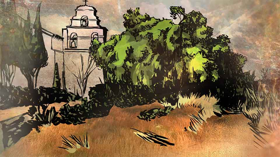 A color drawing of a stone building with a tree featured prominently in the foreground