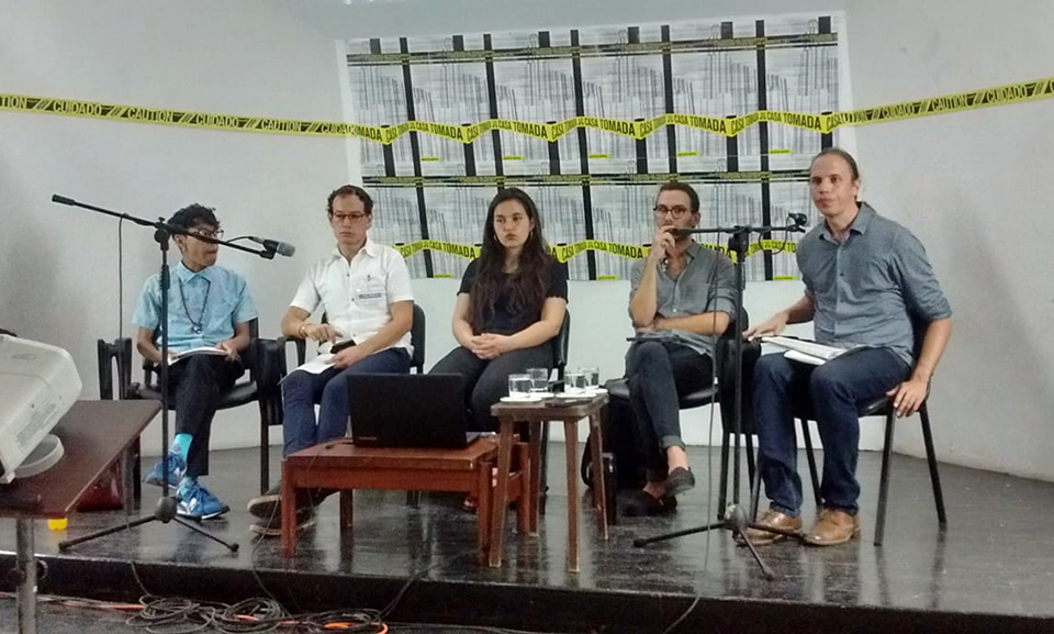 Participants from Mexico, Chile, Guatemala, and the United States participate in a panel discussion on 'queerness' at Casa de las Américas' Casa Tomada.