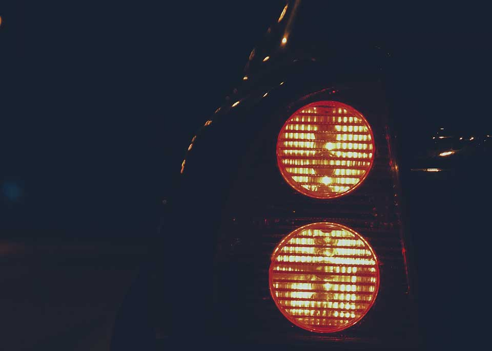 Car lights at night.