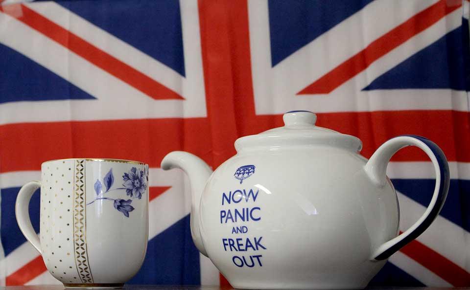 Brexit tea pot and cup