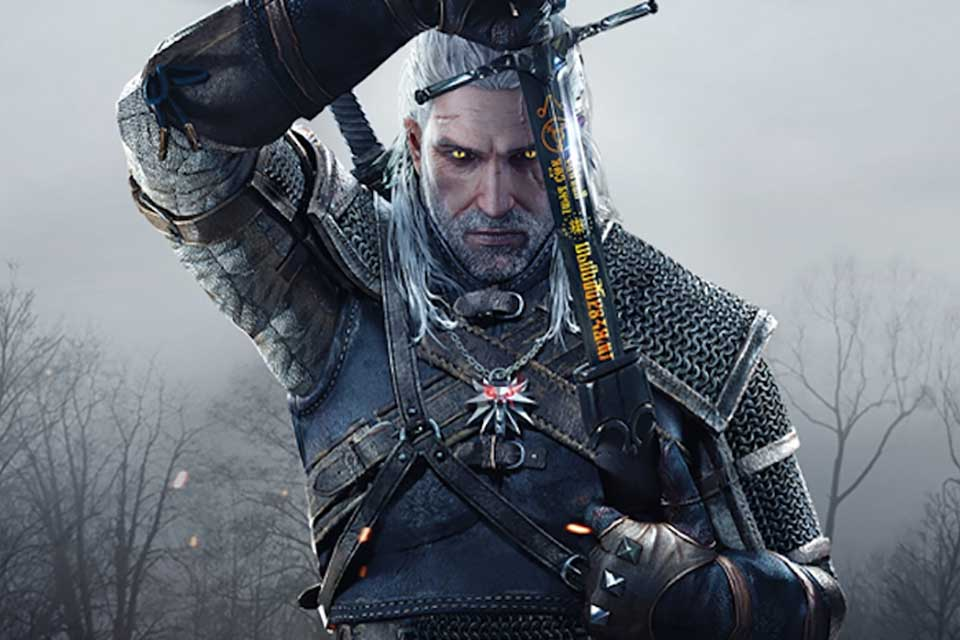 A screencapture of Geralt of Rivia from the videogame adaptation of Andrzej Sapkowski's The Witcher