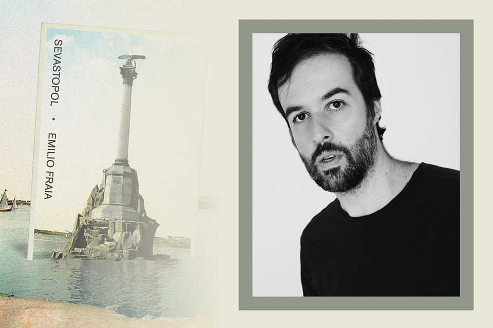 The cover to Emilio Fraia's Sevastopol juxtaposed with a photograph of the author