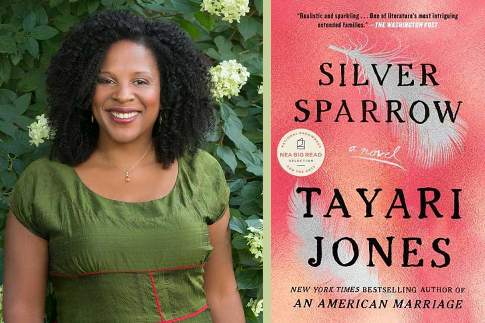 A photograph of Tayari Jones juxtaposed with the cover to her book Silver Sparrow