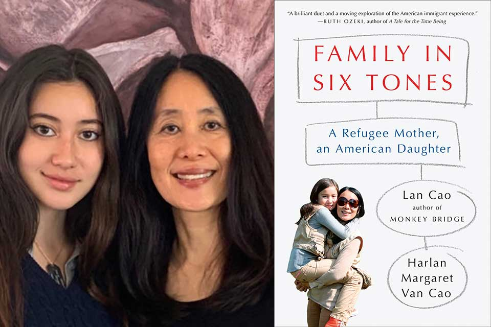 A photograph of Lan and Harlan Margaret Cao juxtaposed with the cover to their book, Family in Six Tones