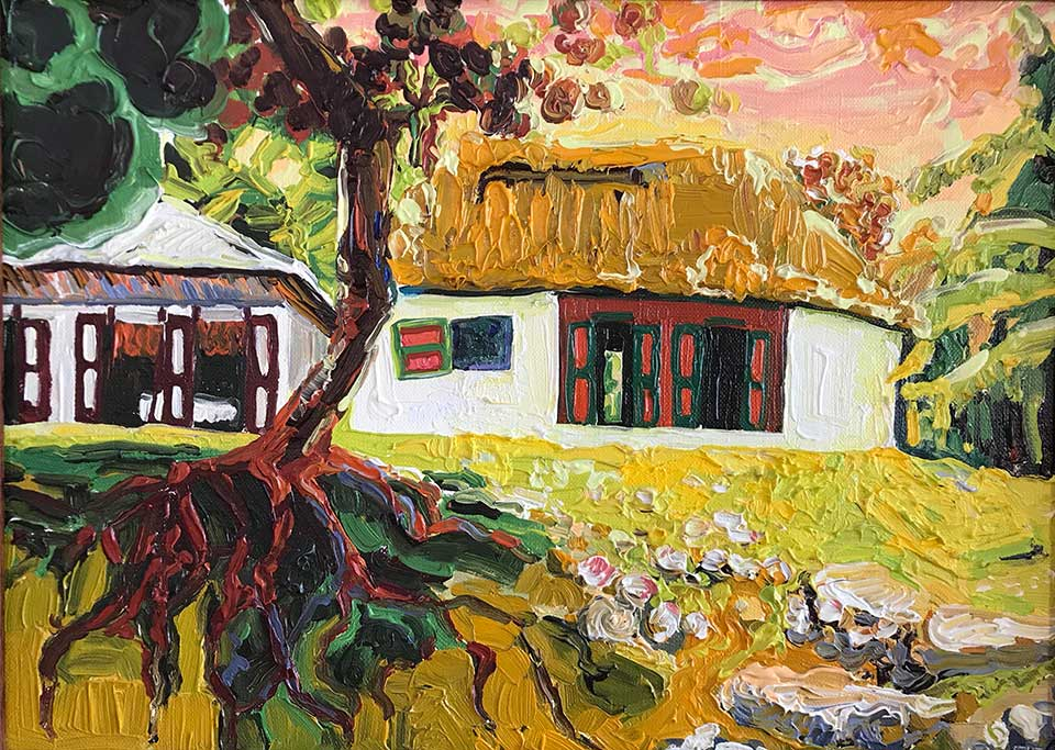 An oil painting of a house surrounded by woodlands. The paint is very heavily layer, creating texture at the surface.