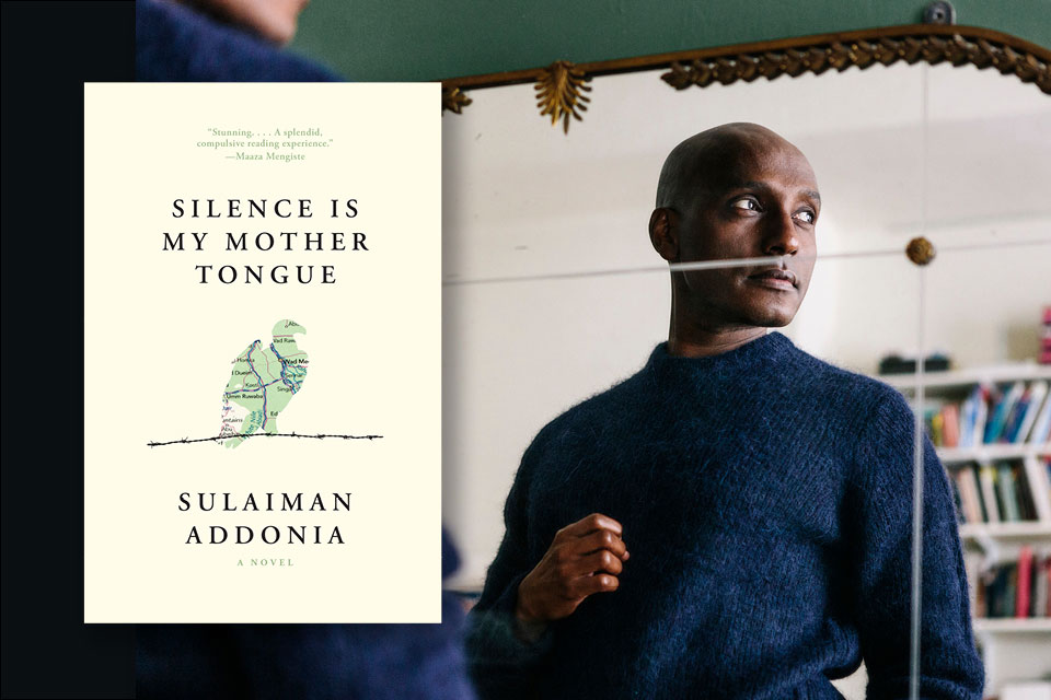 A photograph of Sulaiman Addonia juxtaposed with the cover to his book Silence Is My Mother Tongue