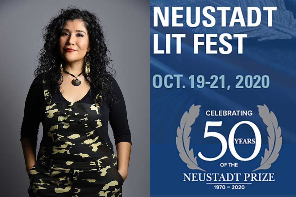 A photograph of Tanaya Winder juxtaposed with the Neustadt Lit Fest 50th Anniversary Logo