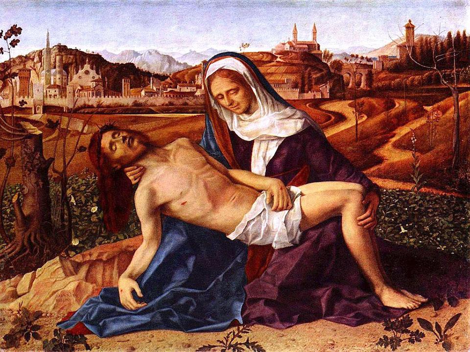 Giovanni Bellini, Pietà (1505), oil on wood, 65 x 90 cm, Gallerie dell'Accademia, Venice