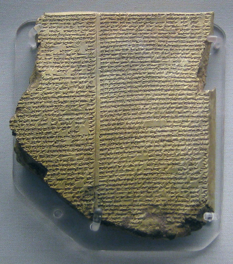 "Neo-Assyrian clay tablet. Epic of Gilgamesh, Tablet 11: Story of the Flood. Known as the ""Flood Tablet""."