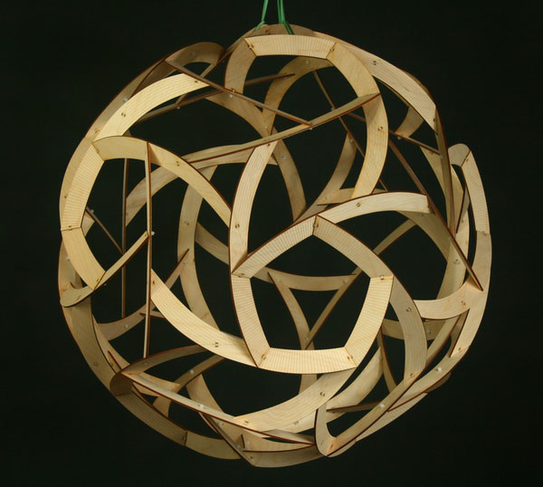 George Hart, Orb, 24x24x24 inches, laser-cut wood, 2014.