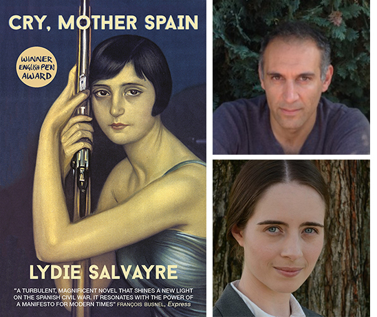 Cry, Mother Spain book cover. Photos of Ben Faccini and interviewer Kelsey Madsen