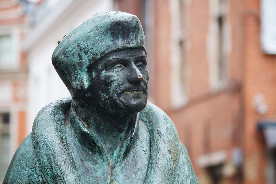 Statue of Erasmus near the Collegium Trilingue in Louvain / Photo by Nick Thompson