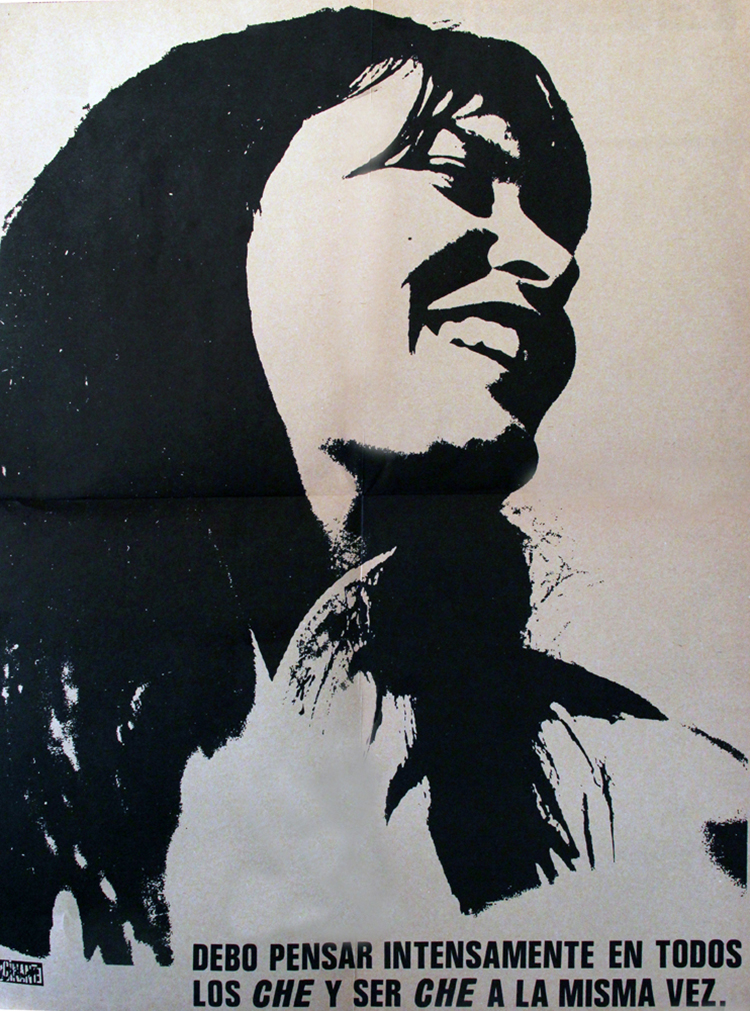 This poster was published in a special issue of Rocinante in 1971. The entire issue was dedicated to Valdivia on the second anniversary of her death.