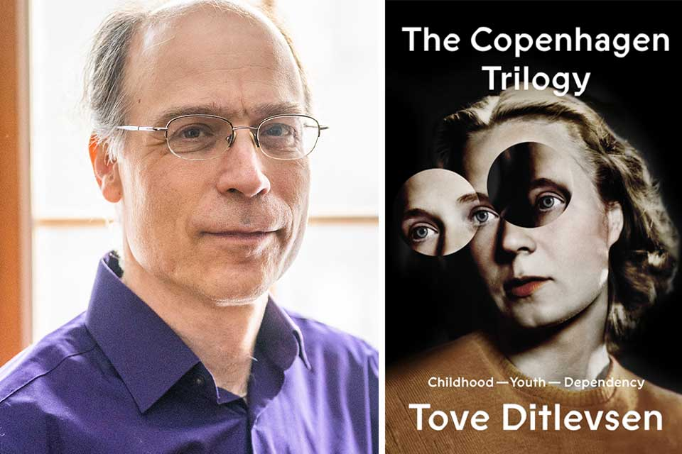 A photograph of translator Michael Favala Goldman juxtaposed with the cover to Tove Ditlevsen's Copenhagen Trilogy