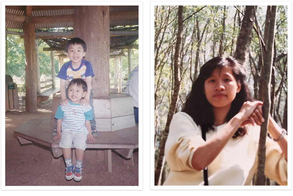 Two Polaroid style photos, clearly aged by the faded quality of the covers. On the left two young children pose. On the right, a woman looks directly at the camera with a forest in the background.