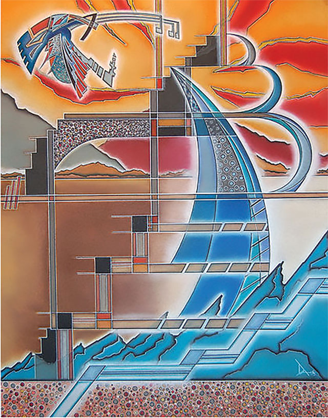 Jarrod Da' (San Ildefonso Pueblo), Solar Winds (2016), soft pastel, 24 x 30 in / Courtesy of the artist (www.jarrodda.com)