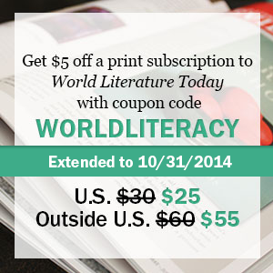 Get $5 Off a Subscription to WLT with Coupon Code WORLDLITERACY