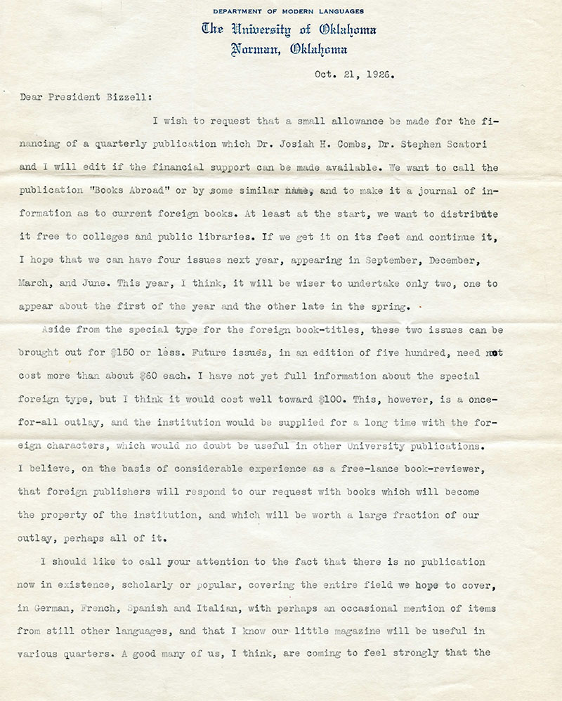 WLT Founding Letter, page 1