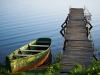 Boat sitting at a dock