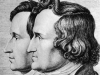 Jacob and Wilhelm Grimm in an 1843 drawing by their younger brother, Ludwig Emil Grimm.