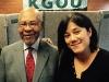 Dr. George Henderson and WLT art director Merleyn Bell in the KGOU studio.
