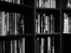 Bookself in black and white