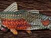 Kim Shuck, Warrior Trout (2016), 15/0 glass seed beads on brain-tanned hide, 9 x 2.5 in / Courtesy of the artist and Doug Salin Photography
