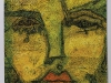 A painting of a woman's face, composed of mostly angular lines