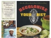 A collage of three literary cookbooks