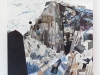 A surreal collage mixing a pristine snowy mountain landscape with objects from an urban environment