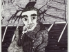 A pen drawing of a man smoking a cigarette outside of a house