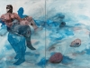 A diptych painting with two abstracts figures in a liquid landscape with heads floating in it
