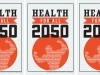 "A poster reprints an image of a muscled figure three times with the words ""Health for All 2050"""