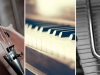 Close up images of a violin, a piano, and a tuning fork formed into a triptych