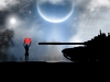 A silhouetted figure holds up red flag with words in Arabic in white beneath a stylized moon
