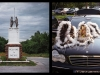 "A diptych with a photo on the left of a statue of two men shaking hands with a sign that says, ""Welcome to Skeedee"" and, on the right, a photograph of indigenous headdress on the hood of a BMW"