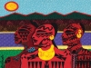 A fabric collage of three Kaninekahake people wth a geometric representation of mesas and the sun in the background