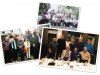 A collage showing three photos of members of the International Association of Crime Writers over five decades