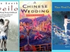 Three book jackets juxtaposed, Gueilo, A Chinese Wedding, and Water Wood Pure Splendor