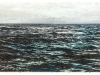 A mixed media painting of churning ocean swells